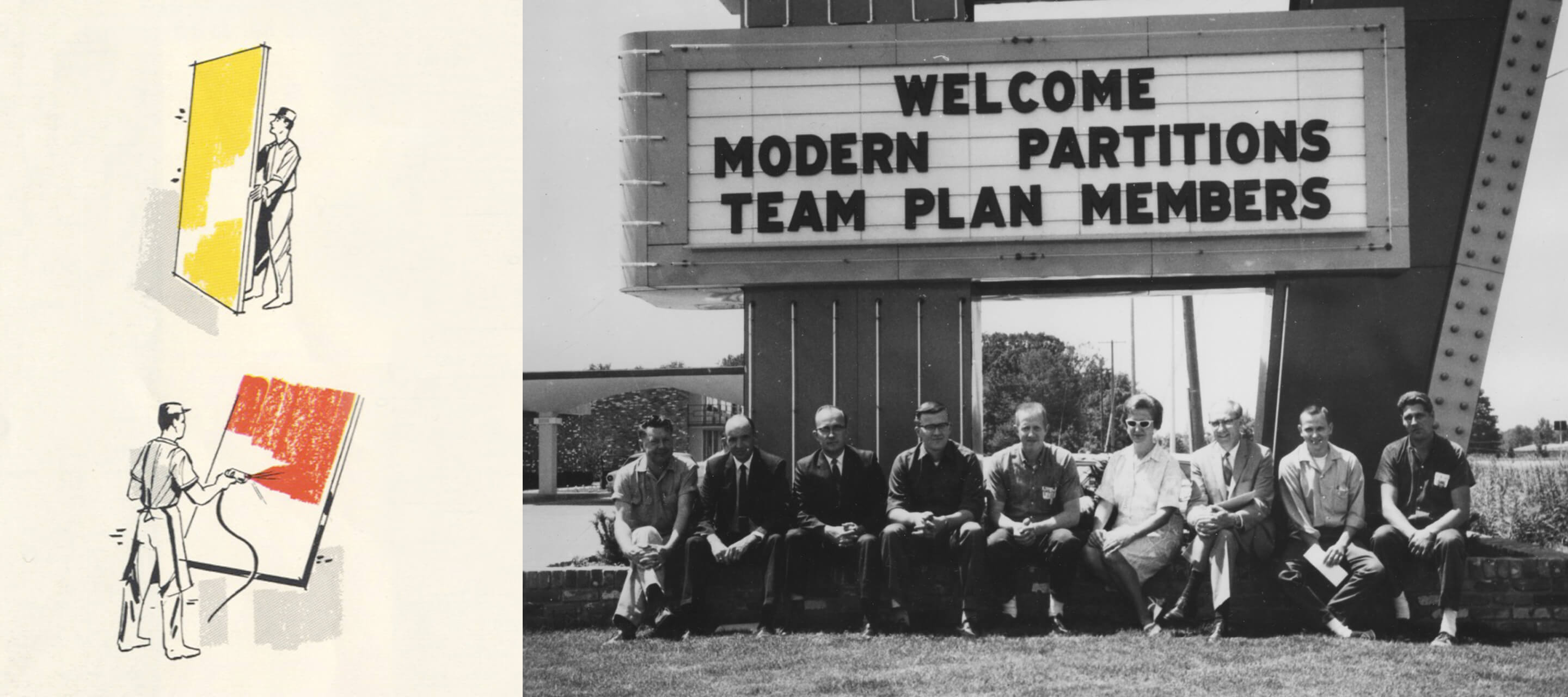 1950s​—In 1951, when a freelance salesman pitches a sketch of proposed bank-type partitions for the United Auto Workers headquarters in Detroit, G.W.'s first foray into floor-to-ceiling movable walls is realized. ​By the end of the decade, Modern Partitions, Inc., is formed.​