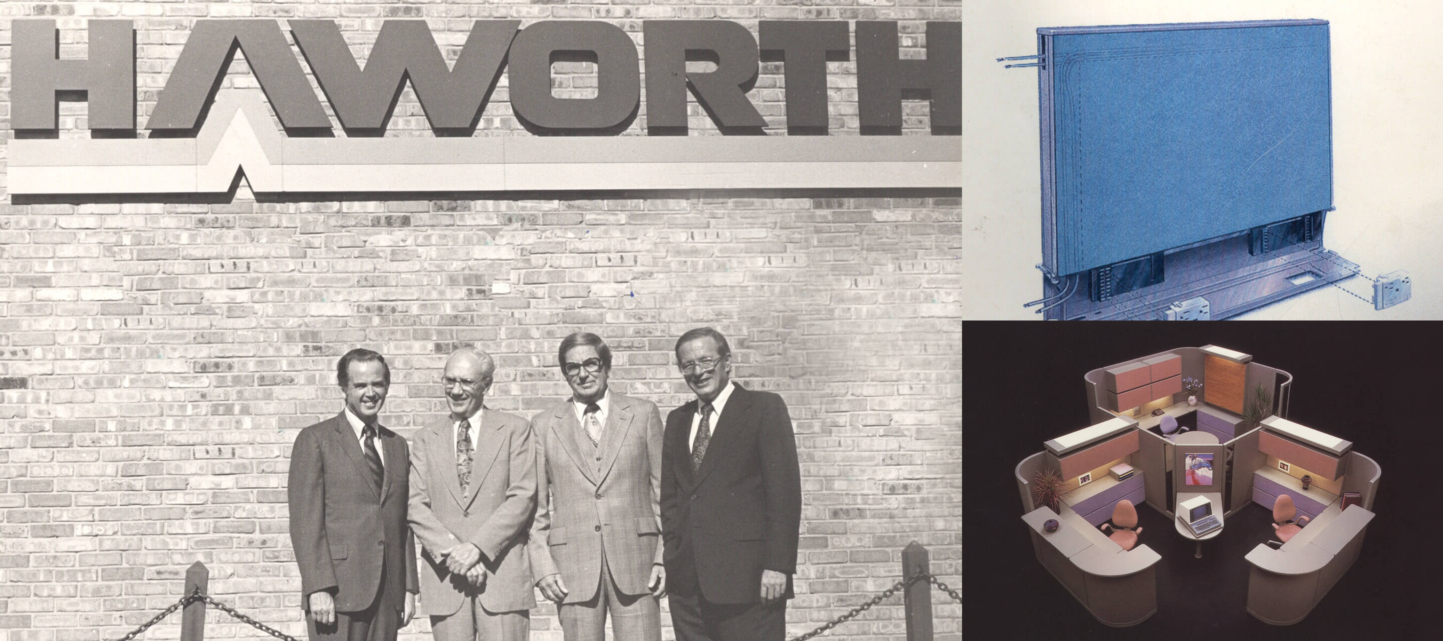 1970s​—In 1976, Modern Partitions changes its name to Haworth, Inc. That same year, Dick Haworth helps devise a way to prewire panels, and patents the most innovative workplace product since open-plan office systems.​ Haworth International, Inc., is formed to set up foreign licenses for the manufacture and marketing of office interior systems.