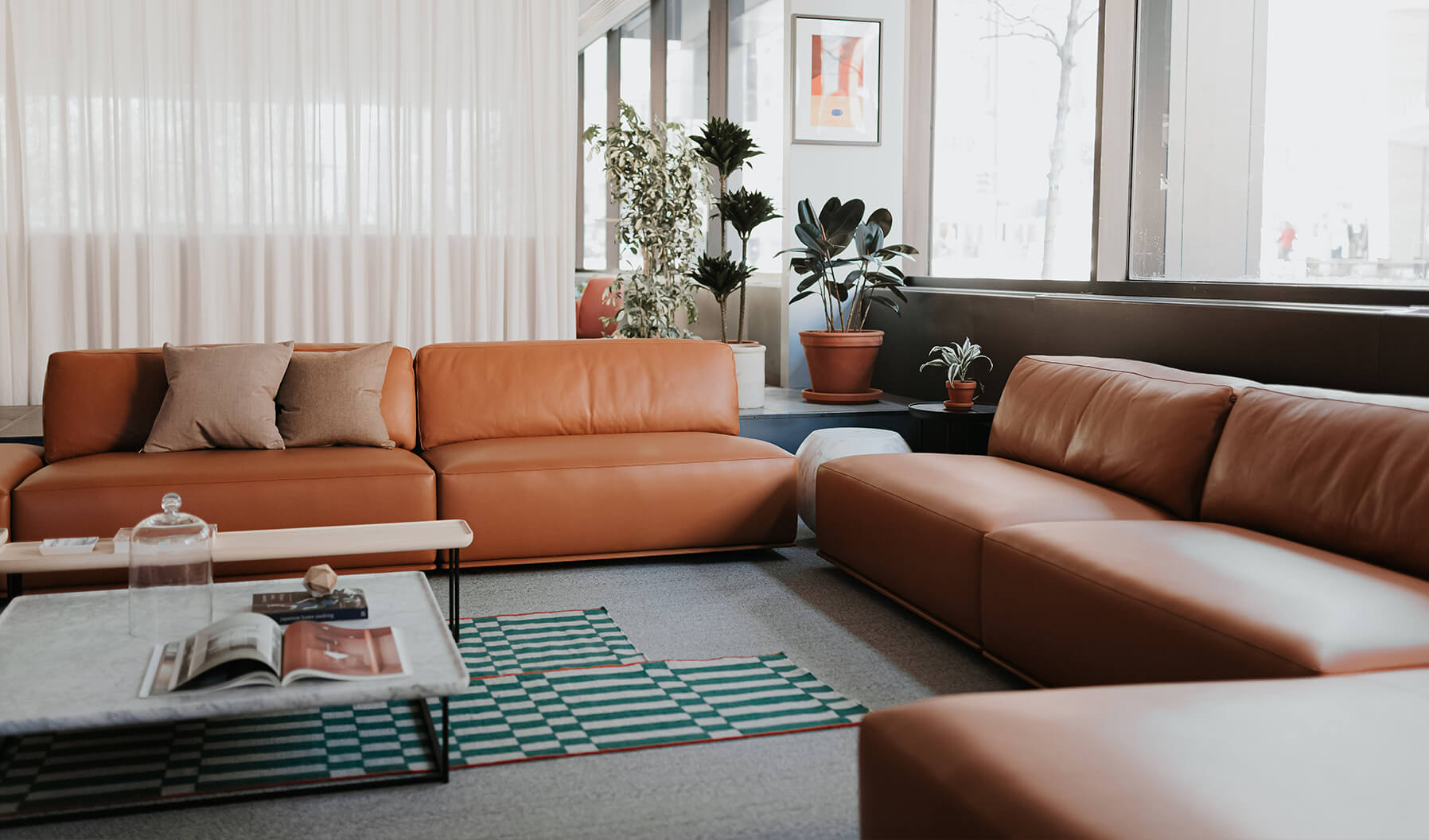 This lounge creates a Social Space that provides comfortable seating to