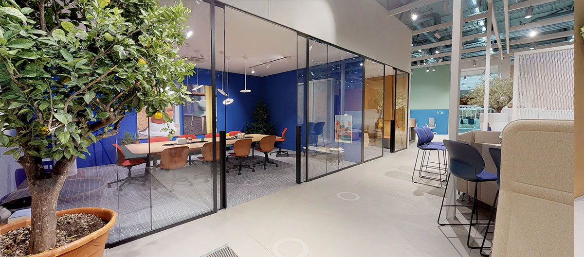 Our Orgatec booth features two meeting rooms for private discussions.