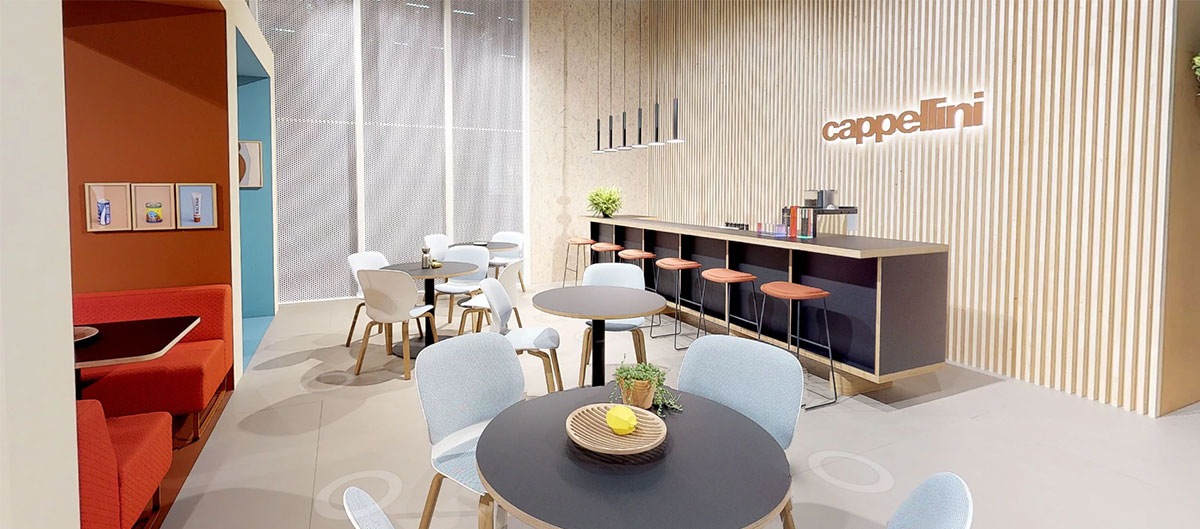 The Cappellini Cafe is a living example of the Haworth Collection, where Haworth furniture blends seamlessly with Cappellini products.