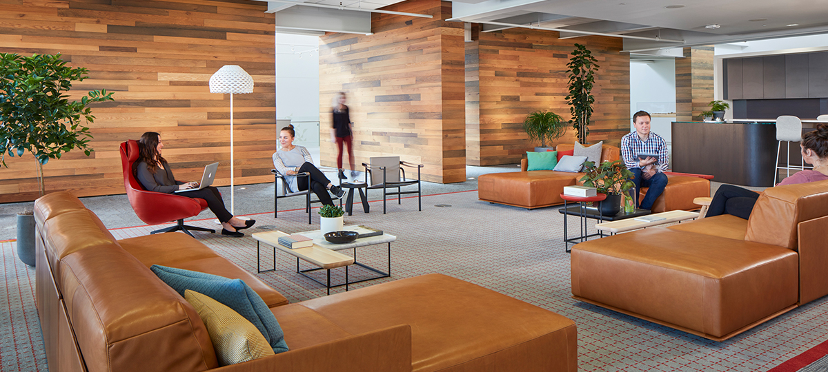 This lounge creates a Social Space that provides comfortable seating to encourage interaction and collaboration with relaxed, seated postures. An accent wall created by wood harvested from local Michigan sources is nod to Haworth heritage and culture.