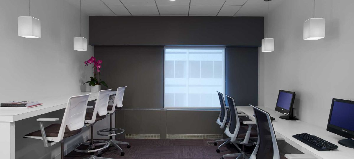 Touchdown spaces allow individuals and small groups to accomplish tasks on the fly between scheduled sessions.