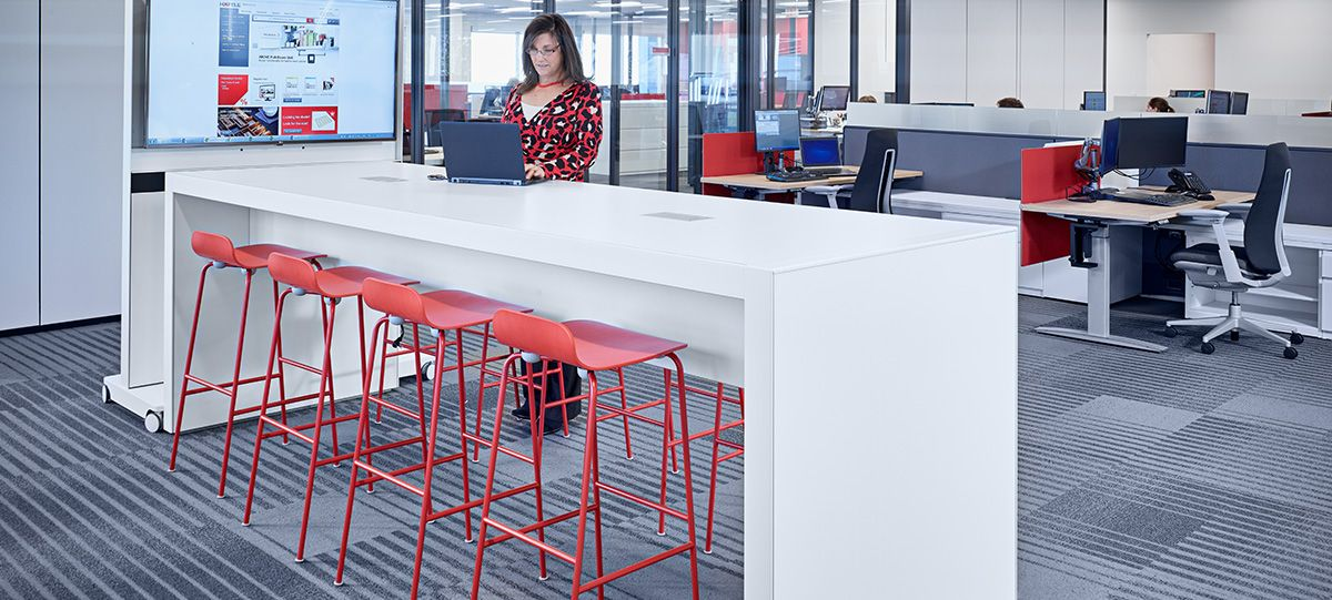 The workspace features an open floorplan with variety and choice in furnishings—fostering creativity and collaboration, and driving innovation.