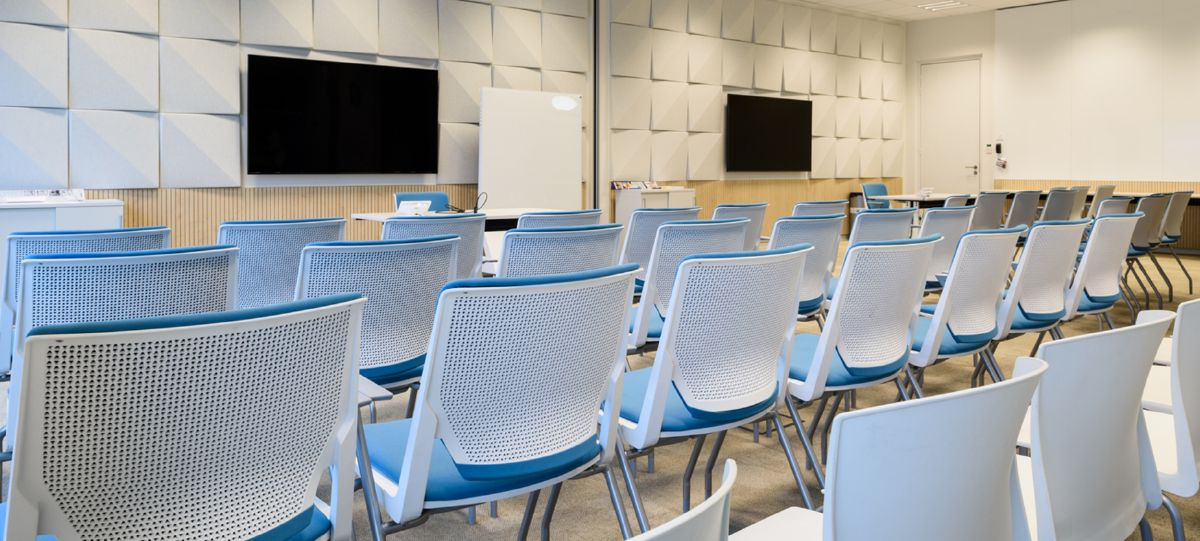 Meeting spaces use an upholstered Very chair for extended training sessions or presentations, and can be easily reconfigured for different activities.