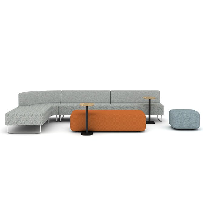 Riverbend Lounge with Pip Laptop Table and Pebble Ottomans