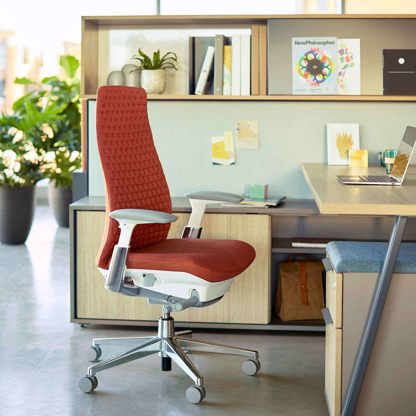 Fern task chair with digital knit back. Shown with Be_Hold storage and Compose