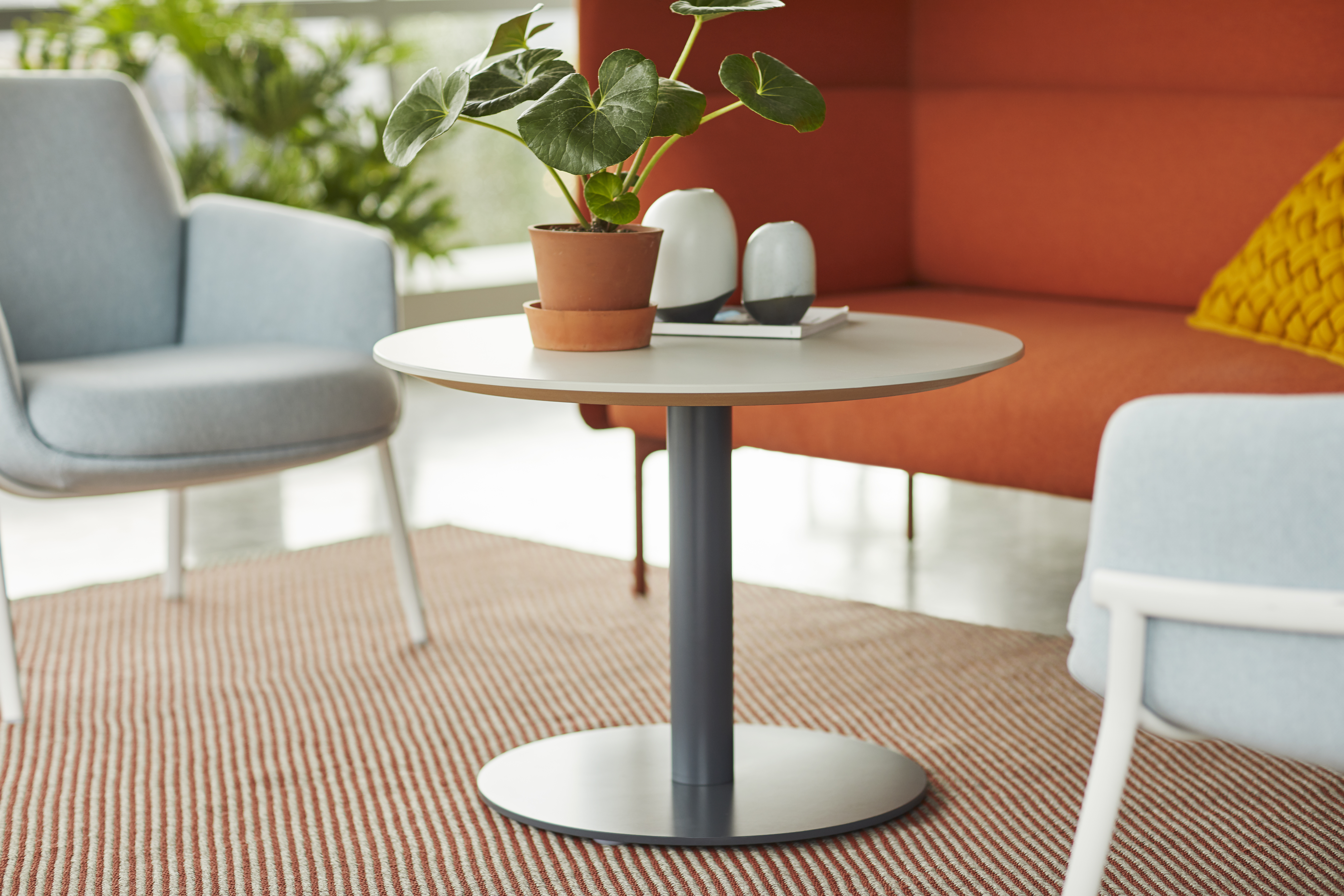Planes Disc Base Side Table - Round. Poppy, Cabana Lounge and Diagonales Rug